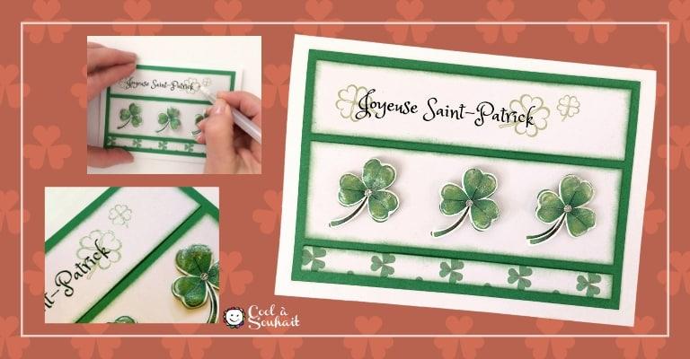 Carte pour la St-Patrick avec trois trèfles.