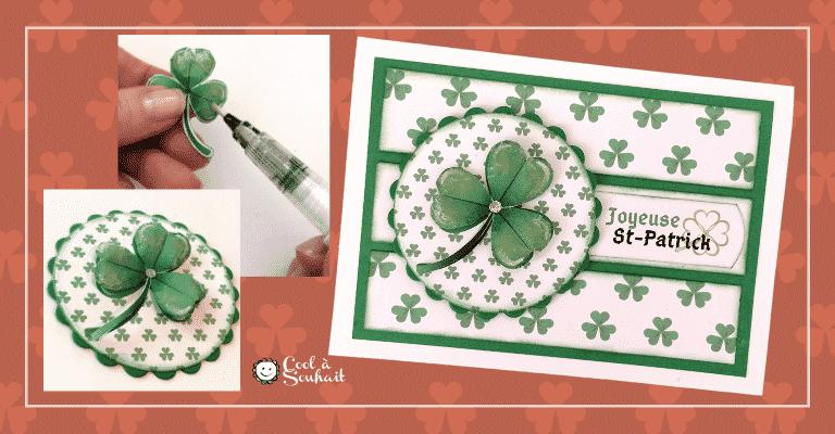 Carte de voeux pour la Saint-Patrick avec trèfle (Shamrock)