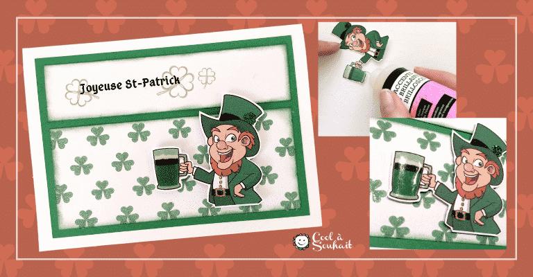 Carte Saint Patrick avec un Leprechaun ou farfadet (lutin irlandais) et bière.