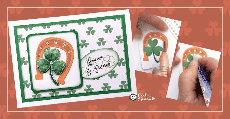 Un fer à cheval comme embellissement sur une carte de voeux pour la Saint-Patrick.