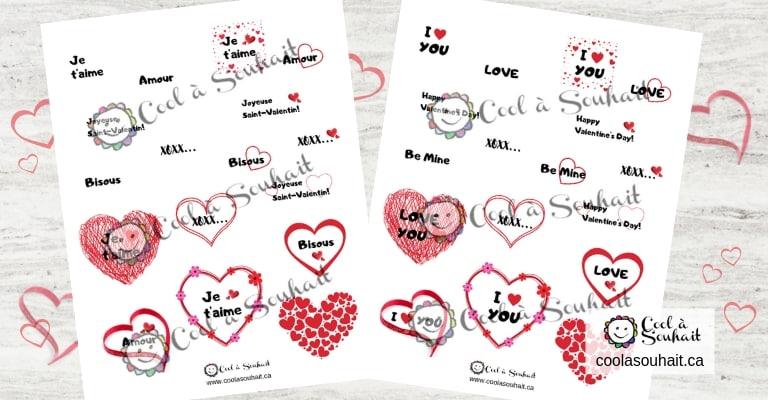 Pages de coeurs et petits mots d'amour à imprimer.