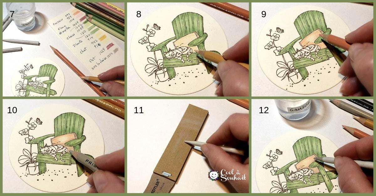 Technique de coloriage avec crayons Prismacolor Premier et essence minérale Gamsol.