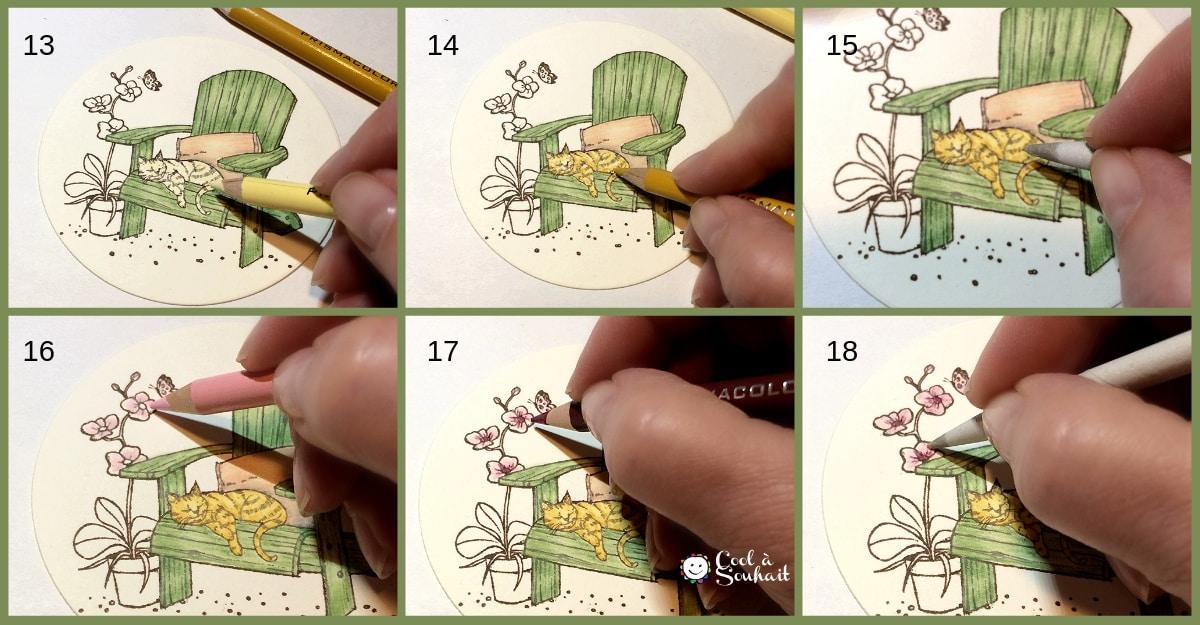 Tutoriel: technique de coloriage aux crayons de couleur et Gamsol.