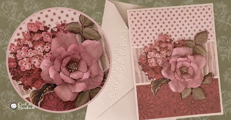 Carte pour la fête des mères avec une rose et une fleur d'hydrangée.