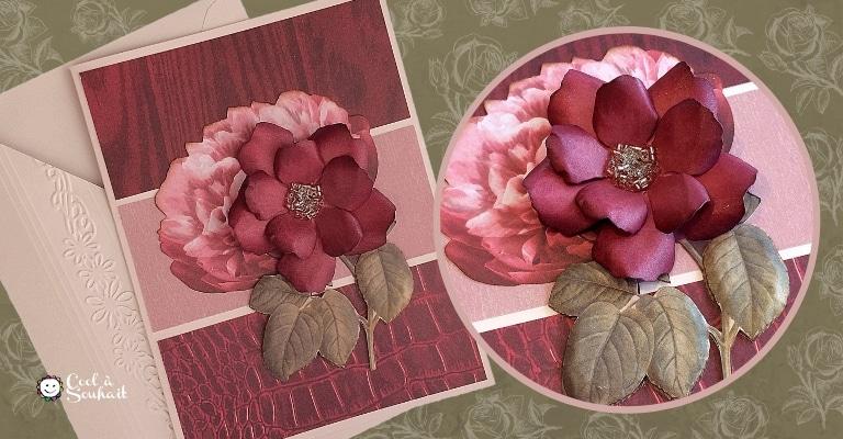 Carte pour la fête des mères avec rose et chrysanthèmes.