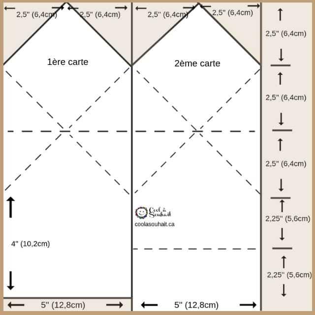 Gabarit avec mesures pour fabriquer deux cartes avec un chapeau de finissants.