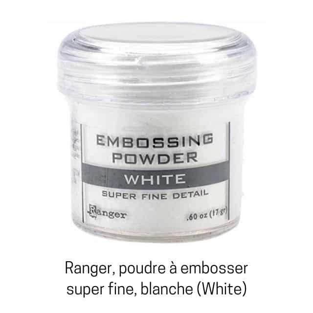Poudre à embosser super fine blanche.