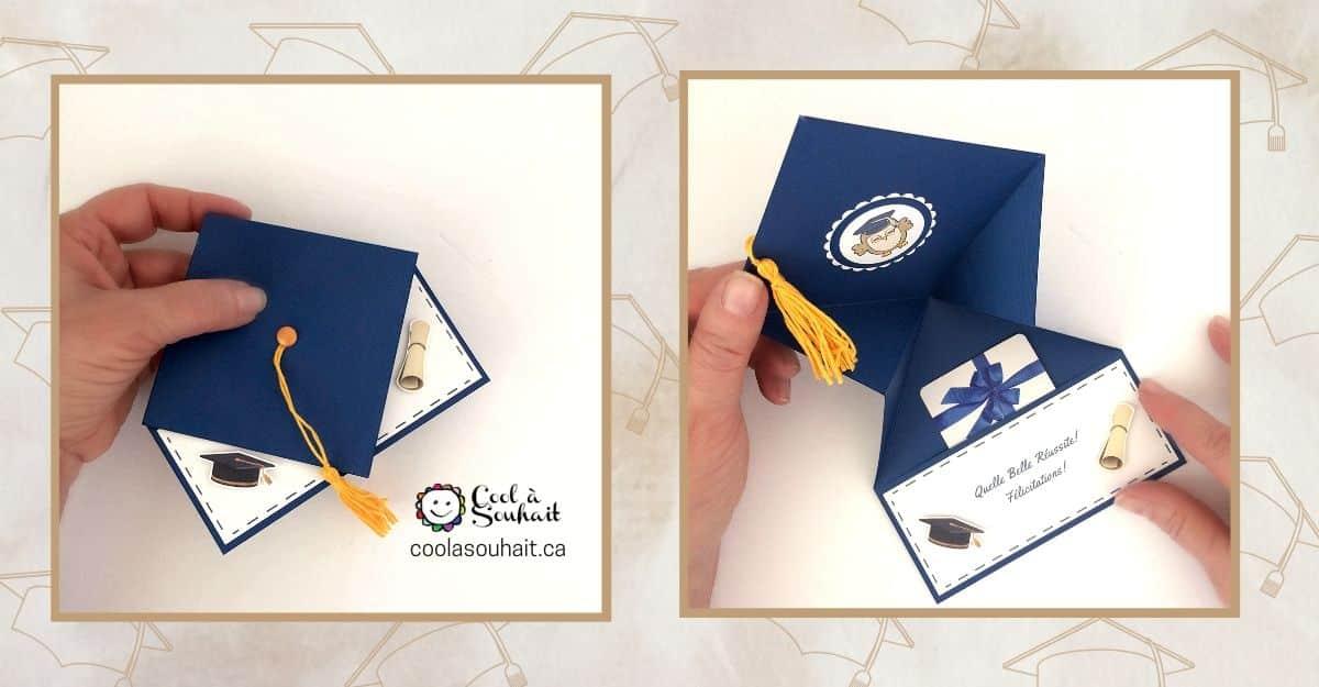 Graduation cap money card.