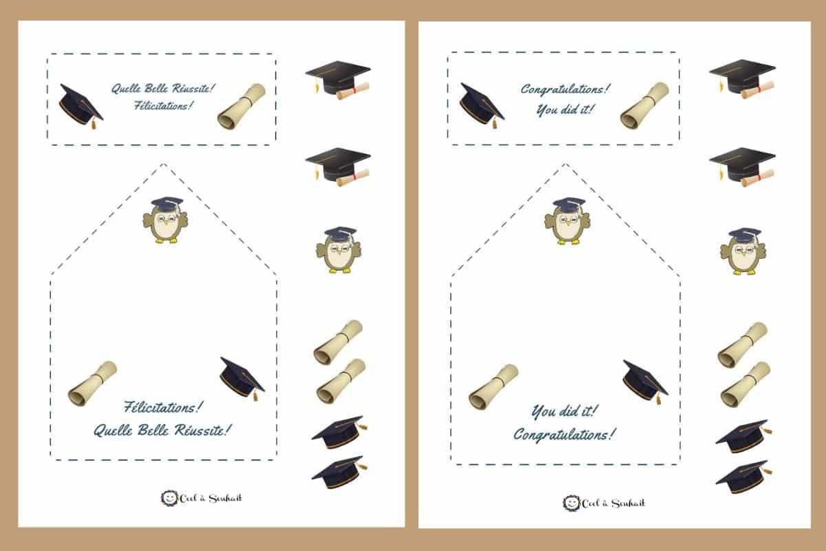 Document PDF à télécharger gratuitement pour fabriquer deux cartes de graduation.