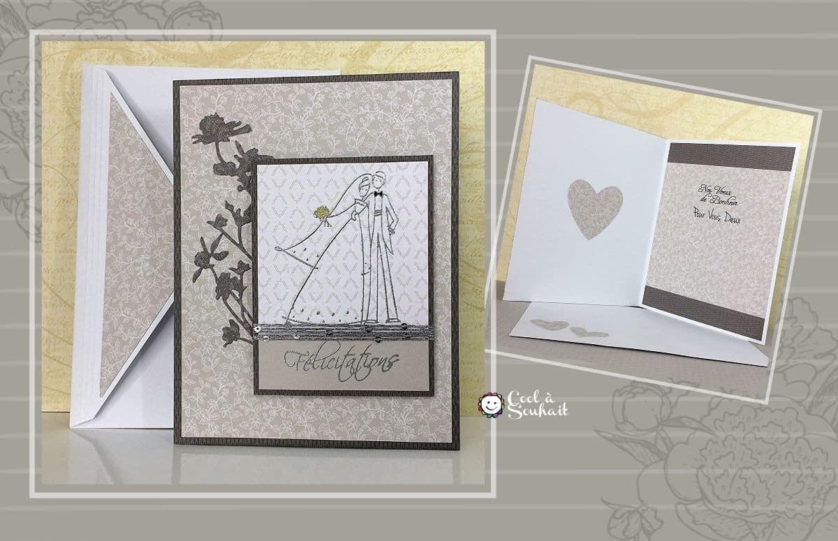 Carte de félicitations pour un mariage. Fabriquée à la main.
