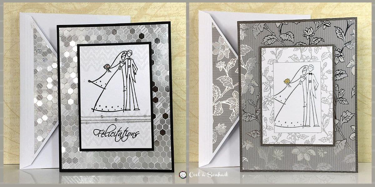 Cartes de mariage fabriquées avec papier à motif.
