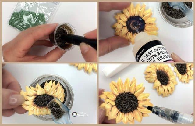 """Comment embellir le tournesol avec du glossy accents, des billes de verre et une touche brillance avec le pinceau """"clin d'oeil de Stella"""" (wink of Stella)."""