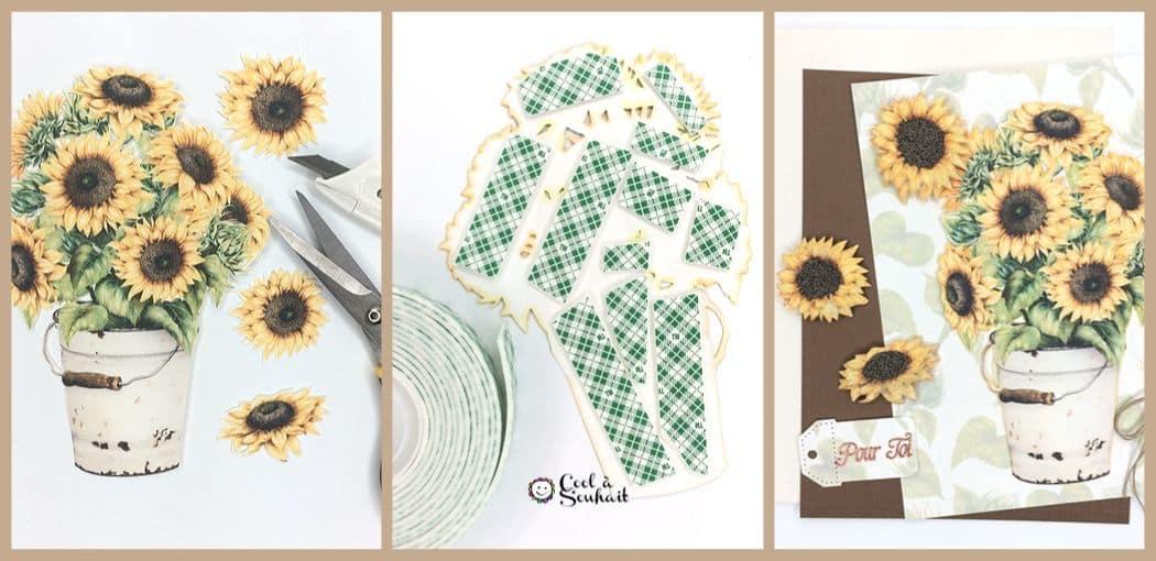 Un bouquet de fleurs jaune pour un effet 3D sur une carte de voeux.