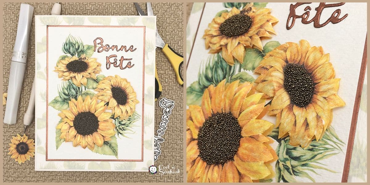 """Une carte de voeux avec tournesols pour dire """"Bonne Fête"""" et offrir une bouffée de bonheur!"""