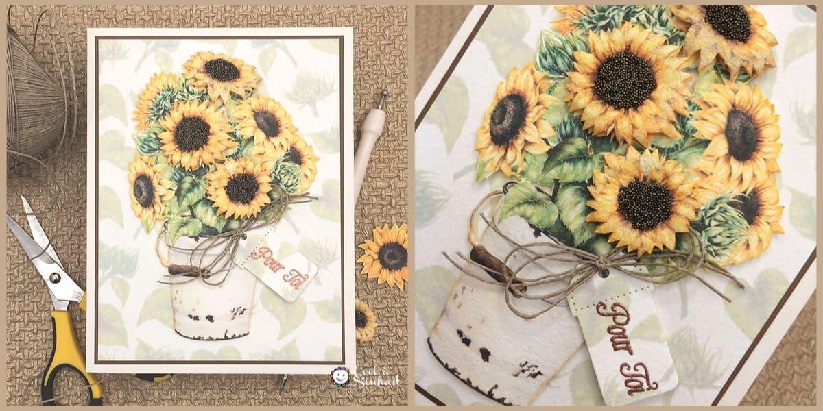 """Une carte de voeux avec un bouquet de tournesols """"Pour Toi""""."""