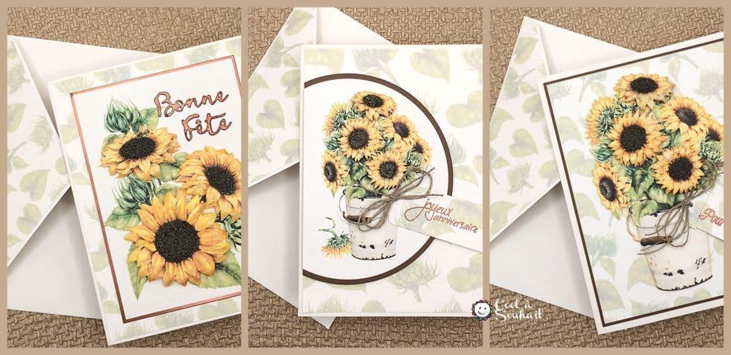 Trois cartes de voeux faites à la main. Elles sont toutes les trois agrémentées de tournesols en papier cartonné jaune.