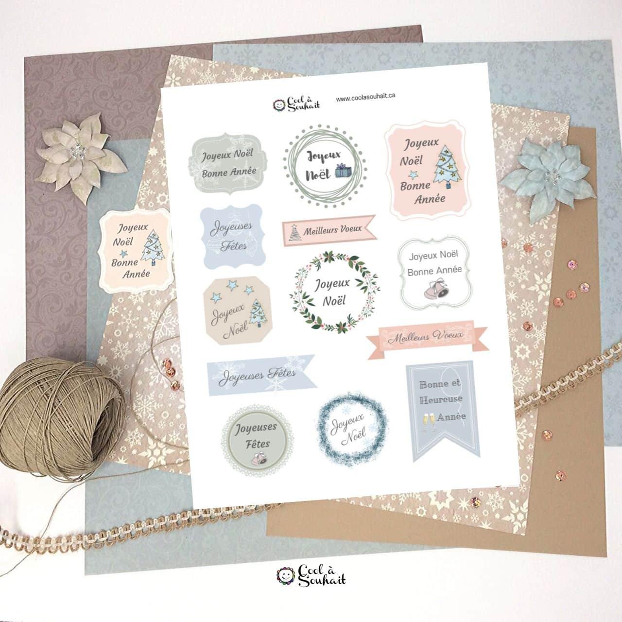 Étiquettes de voeux pour un Noël Champêtre à imprimer et découper.