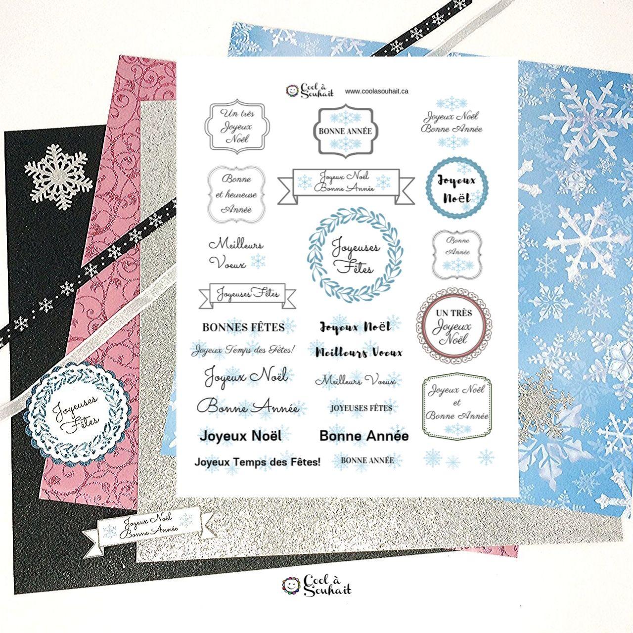 Étiquettes de voeux de Noël à découper et imprimer.