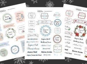 Planches d'étiquettes de voeux à imprimer.