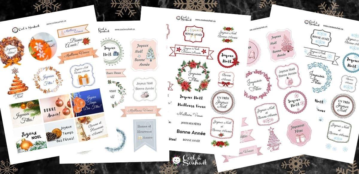 Planches d'étiquettes de voeux pour cartes de Noël.