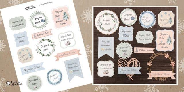 Planche d'étiquettes de voeux pour cartes de Noël champêtre.