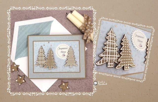 Carte de Noël faite à la main avec petits sapins.