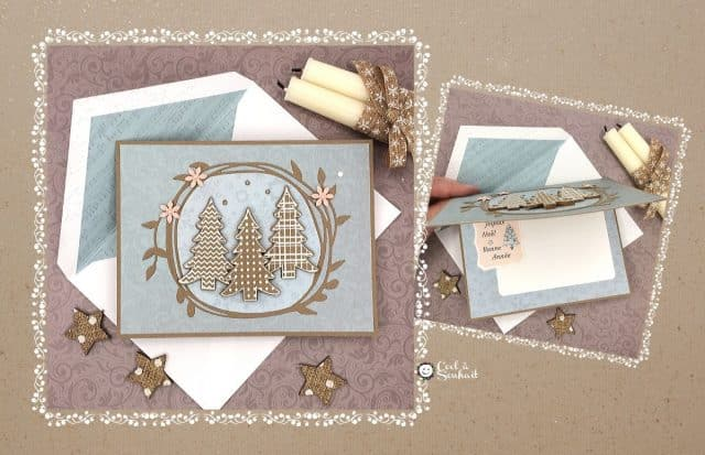 Carte de Noël champêtre faite à la main.