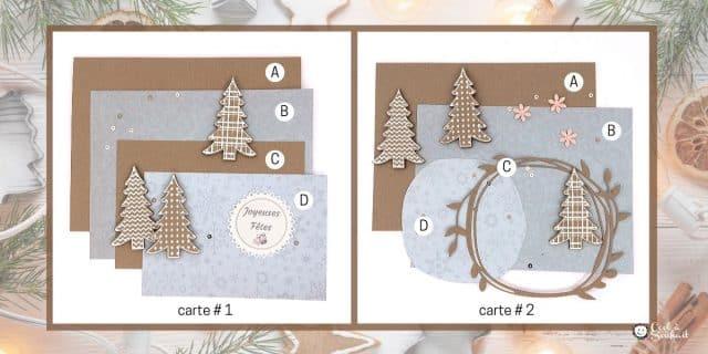 Préparatifs pour créer deux cartes de Noël champêtre.