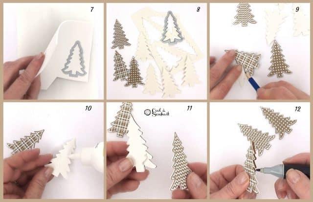 Création de petits sapins pour cartes de Noël.