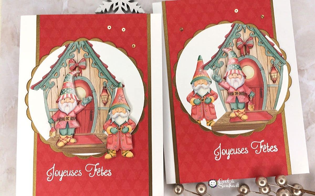 Gnomes de Noël sur carte de voeux faites à la main.