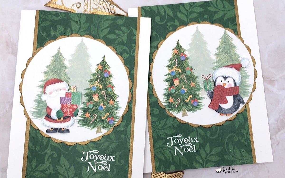 Cartes de voeux faites à la main avec pingouin et père Noël.