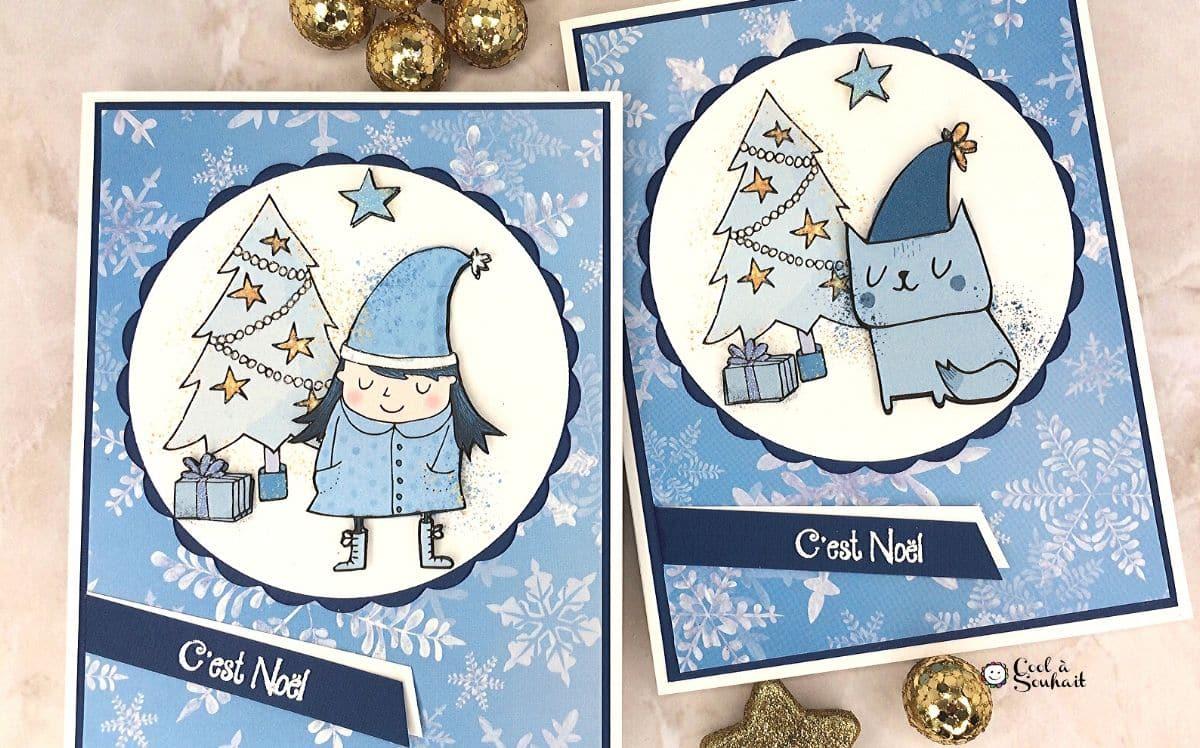 Carte de Noël avec dessin de chat et sapin.