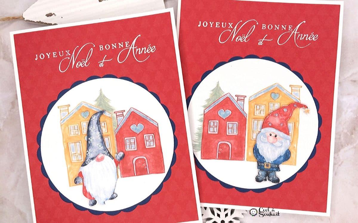 Carte faite à la main avec dessin de gnome de Noël.