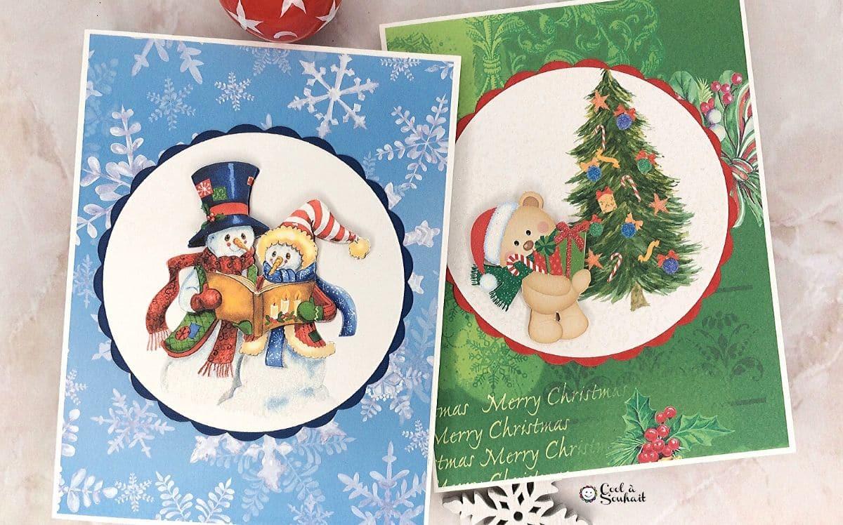 Cartes de Noël fabriquées avec dessins d'ourson et de bonhommes de neige.
