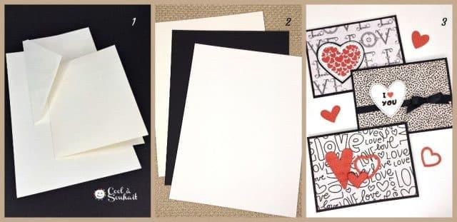 Base de carte, enveloppe, papier cartonné et papier à motifs.
