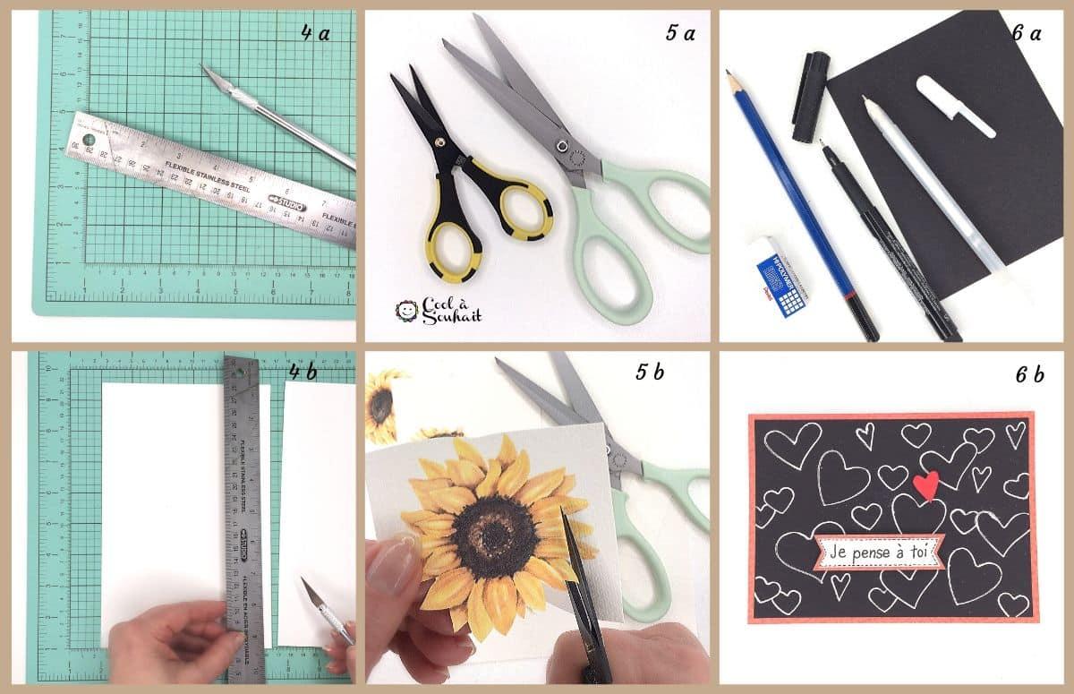 Ciseaux, cutter, règle et tapis pour carterie et Scrapbooking.