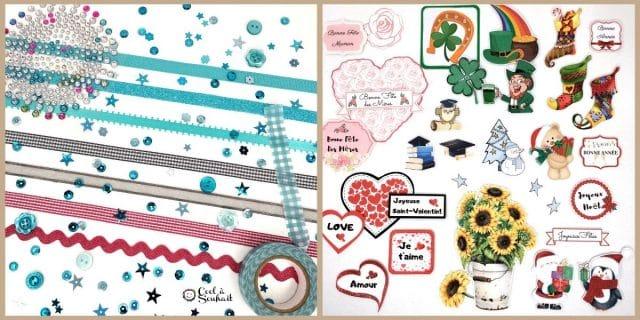 Matériel pour la carterie et le scrapbooking: Strass, rubans, paillettes, embellissements.