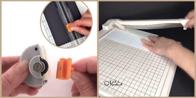 Matériel pour la carterie et le scrapbooking: Coupe-papier, massicot, guillotine ou rogneuse.