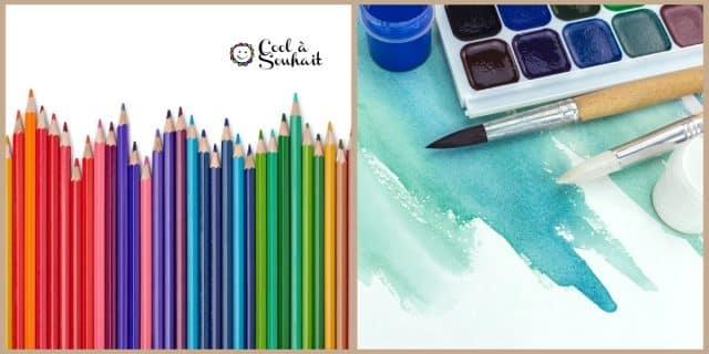 Les crayons de couleur, feutres, encres, stylo gel et marqueurs comme matériel pour la carterie.