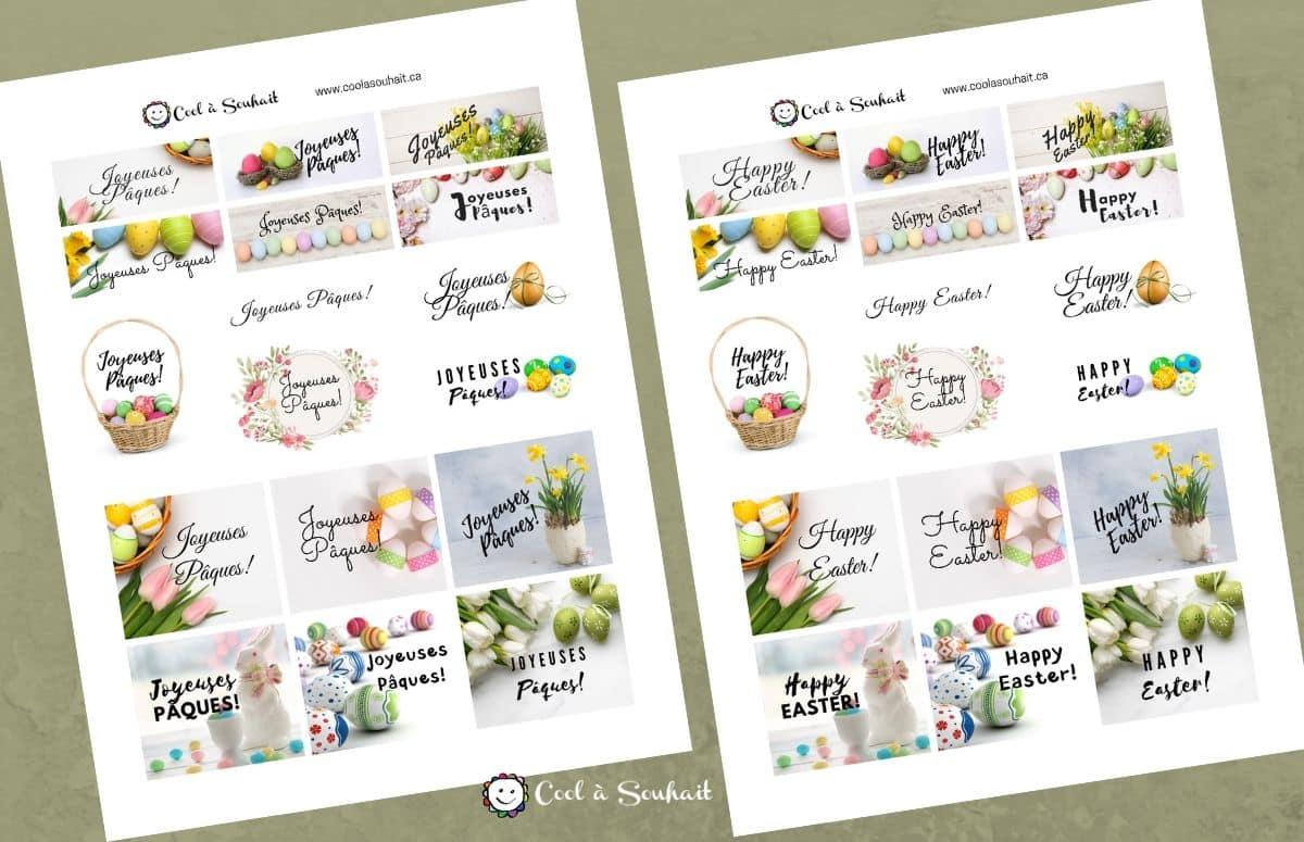 """Étiquettes """"Joyeuses Pâques"""" à imprimer gratuitement pour cartes de Pâques."""