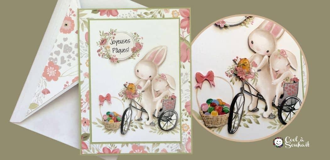 Carte de Pâques DIY avec petits lapins.