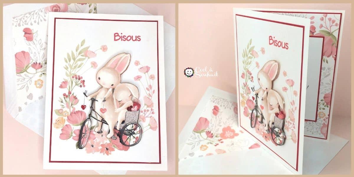 Une carte pour la St-Valentin avec des adorables petits lapins.