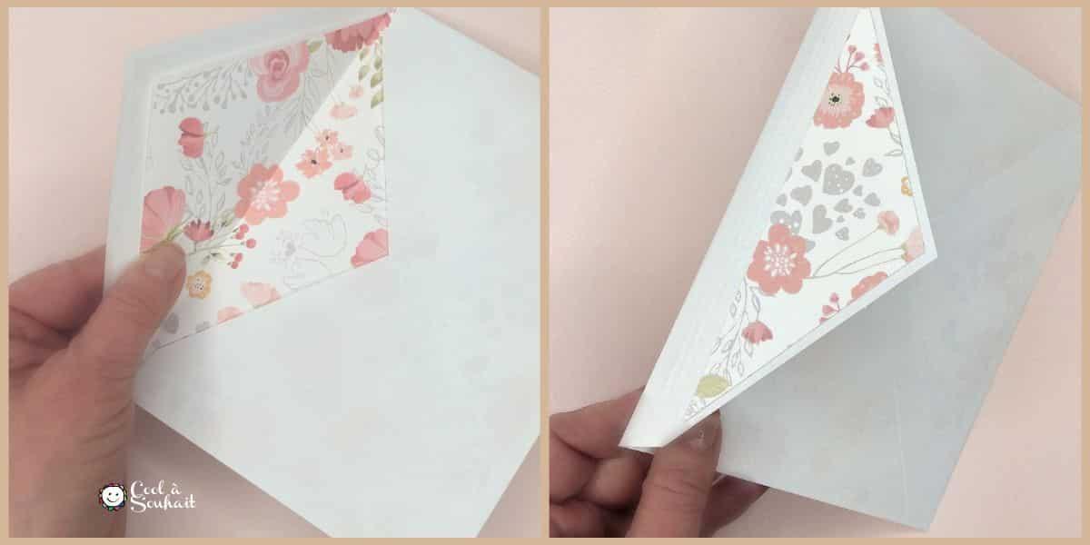 Embellir une enveloppe avec du papier à motifs.