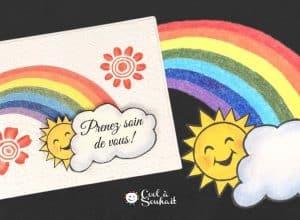 DIY Cartes avec arc-en-ciel et soleil.