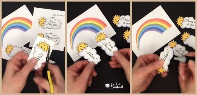 Carte avec arc-en-ciel et soleil.