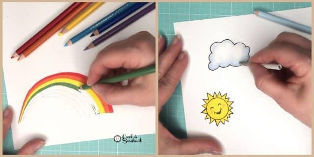 Dessiner et colorier images d'arc-en-ciel et soleil.