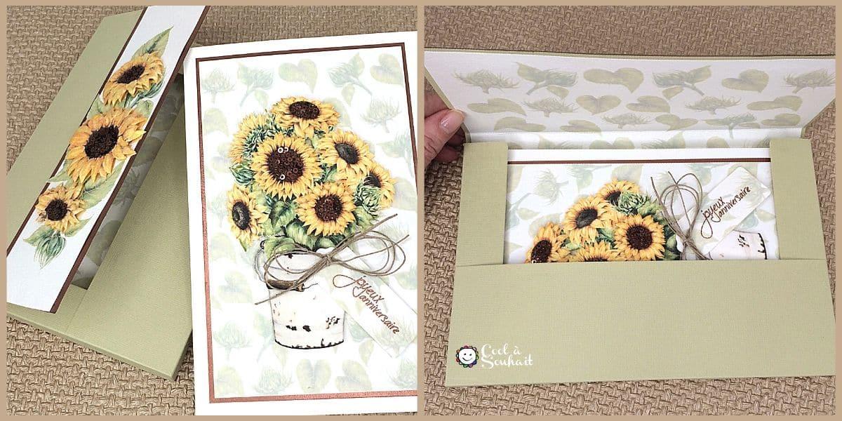Carte de voeux avec des fleurs de tournesol et son enveloppe-boîte.