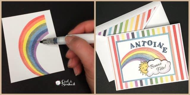 Carte d'anniversaire. Utilisation du pinceau Clin d'oeil de Stella pour ajouter de la brillance.