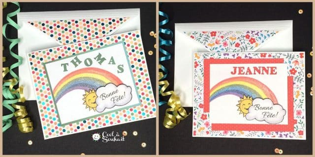 Cartes de voeux DIY avec papier à motifs.