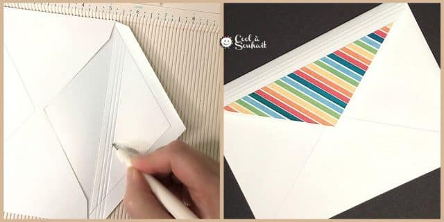 Embellir les enveloppes à l'aide d'une planche de marquage et de papier à motifs.